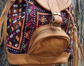 Mini Vintage Textile Backpack, festival Backpack