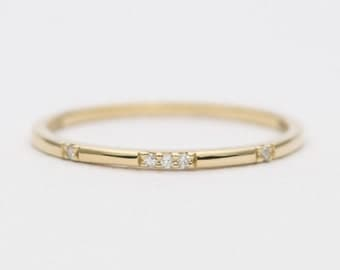 Constellation Diamond 18K Gold Wedding Band Stacking Ring AD1162