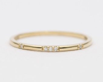 Constellation Diamond 18K Gold Wedding Band Stacking Ring AD1162
