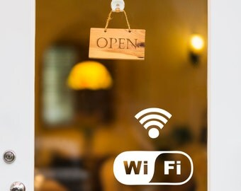 Wifi Door Decal, Wifi Window Decal, Free Wifi Sticker, Custom Storefront Decal, Office Sign, Wifi Sign, Internet Decal, Removable Wifi Decal