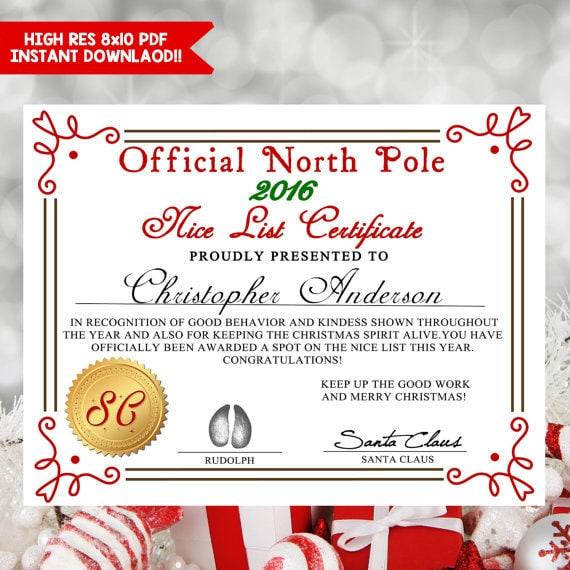 Printable nice list certificate santa letter nice list for Nice list santa letter