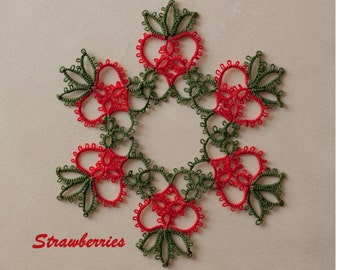 Strawberries tatting pattern PDF, tatted in white with beads makes a lovely snowflake