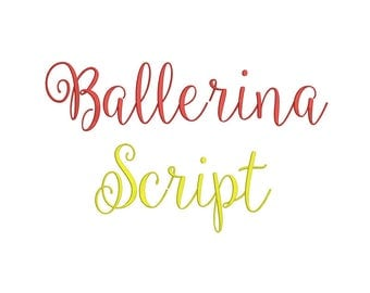 Ballerina Script Embroidery Font 3 Size  Font Machine Embroidery Font Instant Download 9 Formats Embroidery Pattern PES and BX