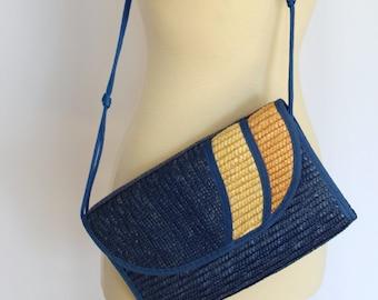 Vintage 80s Blue Straw Crossbody Bag Purse