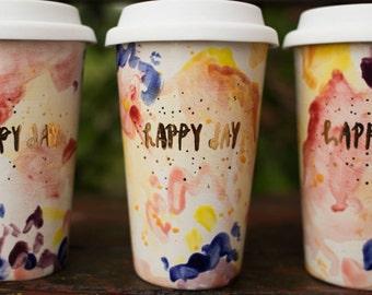 Happy Day Travel Coffee Mug Tumbler