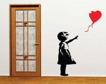 Banksy Wall Sticker - Heart Balloon Girl
