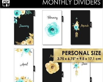 Monthly Personal Size Planner Dividers Filofax Websters Pages Kikki K Medium Inserts 12 Month Black Mint Gold Tabs Year Pdf PRINTABLE