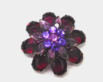 Vintage Purple Flower Brooch, Large Flower Pin, Accessories, Fashion Jewelry, Boutique