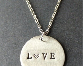 "Hand Stamped Stainless Steel Necklace ""Love"", Heart Necklace, Handstamped Jewellery, gift for Valentine's Day, gift for woman, Love Necklace"