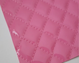 QUILTED BARBIE PINK leather sheet,8x11 faux leather,pink quilted sheet,pink faux leather, pink vegan leather, quilted fabric, large pattern