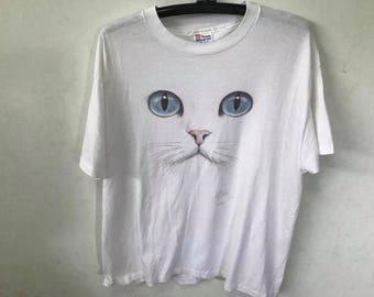 Vintage Cat Face Shirt Size XL Free Shipping 50 Cotton Shirt Cat Face Animal Shirt