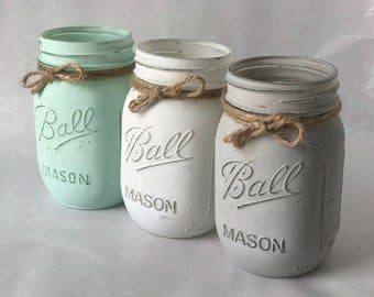 Spring Decor Mason Jars, Painted Mason Jars, Distressed Decor