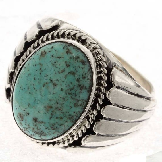 Wedding Rings For Men India: Turquoise Big Boy Mens Ring Navajo Made Size 9 To 13