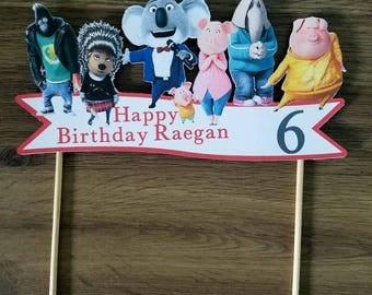 Sing the movie custom cake topper with name and age
