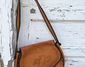 Vintage Leather Hand Crafted Tooled Purse
