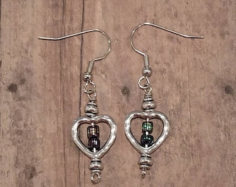 Heart With Multi Color Bead Earrings