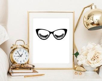 Eyelashes and glasses art, makeup art print, glasses art, office print, eyelash art, glasses print, eyelashes poster, vanity decor