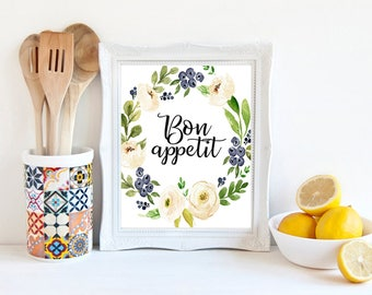 Bon Appetit Sign Floral Kitchen Print Dining Room Decor French Quote Restaurant