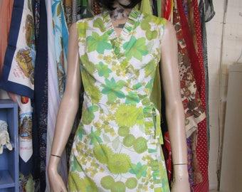 Beautiful Green and White Wrap Dress - Size 38/ 10