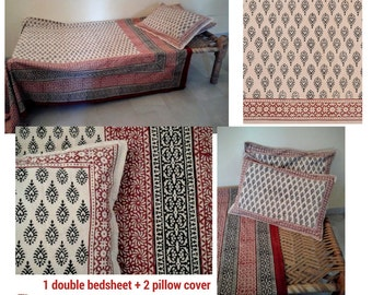 Set Double bedsheet/Bed cover+2pillow cover/cotton/India/BlockPrint/FreeShipment