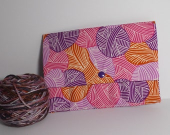 Crochet Needle Case, Yarn ball print Needle Case
