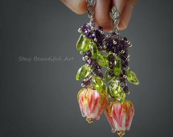 Natural Amethyst and Handmade Lampwork Flowers Earrings with Silver CZ Details. Dangle Drop Earrings