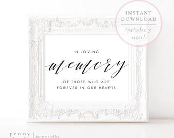 In Loving Memory Sign. In Loving Memory Wedding Sign. Wedding Sign. Wedding Memorial. Memorial Sign. Memorial Print. Wedding Signage.