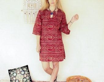 Vintage 70's Indian Block Print Dress