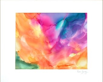 Billowy Rainbow Abstract Wall Decor Original Alcohol Ink Painting Limited Edition Giclee Print