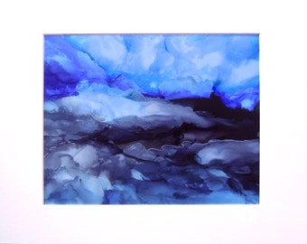 Blue Ice Wall Decor Original Alcohol Ink Painting Limited Edition Giclee Matted Print