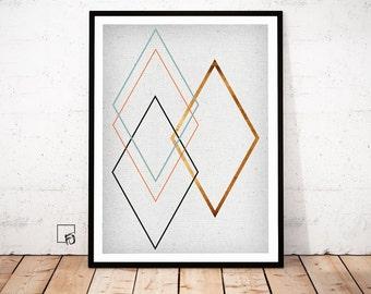 Abstract Print, Copper Wall Art, Copper Print, Copper scandinavian Art, Copper minimalism poster, Copper geometrical print, Copper download