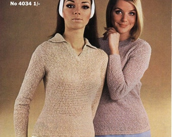 """vintage womens polo shirt sweater knitting pattern PDF ladies jumpers 34-40"""" 4ply cotton Instant Download"""