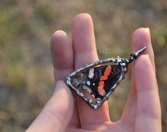 Real Butterfly Wing Necklace, Red Admiral Butterfly, Butterfly Necklace, Insect Jewelry, Stained glass, Tiffany pendant, ZebraArtStudio