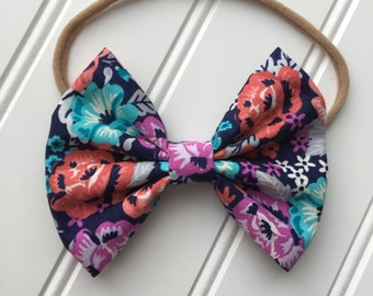 Floral print bow/ large floral bow/ floral bow/ available on nylon headband or alligator clip