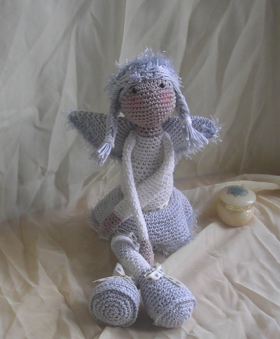 Snuggly Angel Doll, in Grey and Cream cotton yarn, detail fluffly wings and lace underskirt, long floppy arms and legs for hugs and cuddles