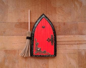 Halloween Witchy Fairy Door with broom   Handmade Solid Wood Fairy Door   Unique Gift   Pretend Play   Wall Decoration