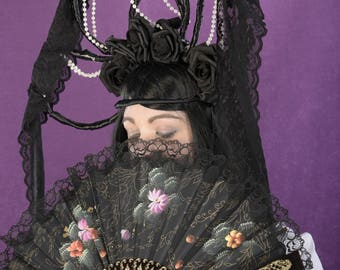 Gothic Infanta with Veil and Black and Red Roses