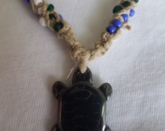 Hematite Turtle Pendant Hemp Necklace