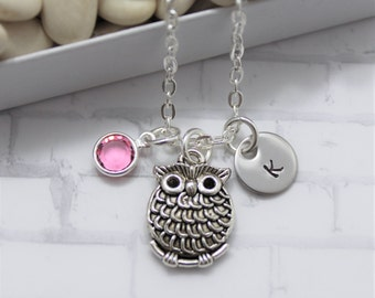 Owl Necklace - Silver Owl Necklace - Personalized - Party Favor - Owl Jewelry - Owl Pendant Necklace - Little Girls Necklace