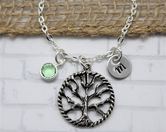 Tree Of Life Necklace - Personalized - Initial Necklace