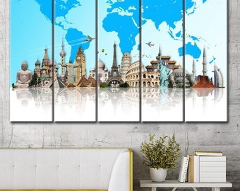 Poster to color etsy world map wall art canvas world map print colorful world map world publicscrutiny Gallery