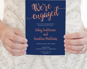 Rose Gold wedding invitation - Rose gold engagement party invitation template- Rose gold invitation edit on Adobe Reader - Rose Gold Wedding