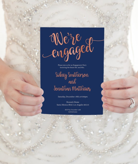 Rose Gold wedding invitation - Rose gold engagement party invitation template- Rose gold invitation edit on Adobe Reader - Rose Gold Wedding