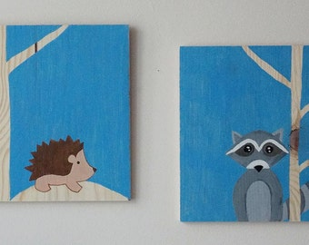 Wood Art, Woodland Animals, Raccoon and Hedgehog Art, Nursery Wall Art, Blue Nursery, Baby Shower Gift, Nursery Decor, 25x25 Wall Art