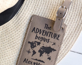 The Adventure Begins LUGGAGE TAG, Personalized Gifts, Wedding Gift, World Map Luggage Tag, Faux Leather, Custom Travel Gifts for Couple LT2