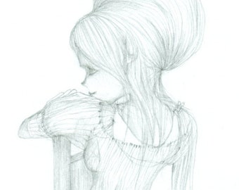 ORIGINAL drawing (The One Who Listens), pencil