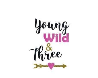 Young, Wild, & Three iron on transfer, Third birthday shirt, Birthday iron on transfer, Birthday iron on