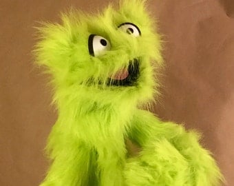 Furry Green Monster Hand and Rod Puppet