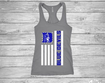 Duke Blue Devils Flag shirt - Duke University - Football - Basketball - Ladies