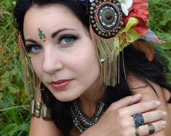 Tribal fusion Bellydance ATS headpiece with flowers, Tribal Fusion Headdress, Belly dance Hair Accessories